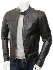 Men's Simple Leather Biker Jacket