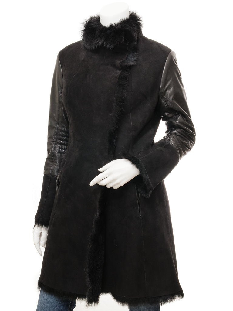 Women's Sheepskin Leather Black Long Coat