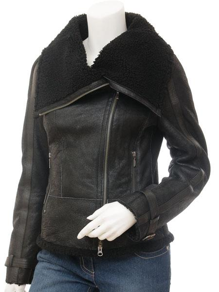 Women's Sheepskin Leather Biker Jacket