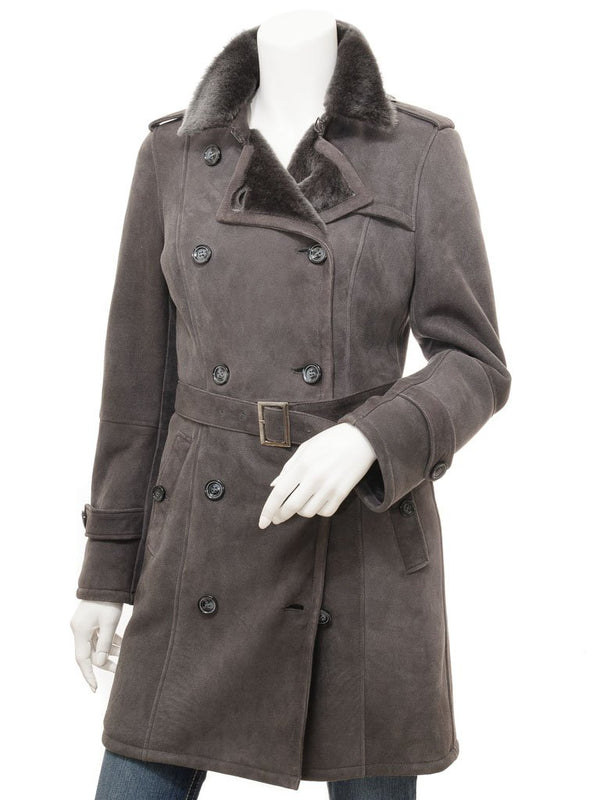 Women's Sheepskin Leather Grey Trench Coat