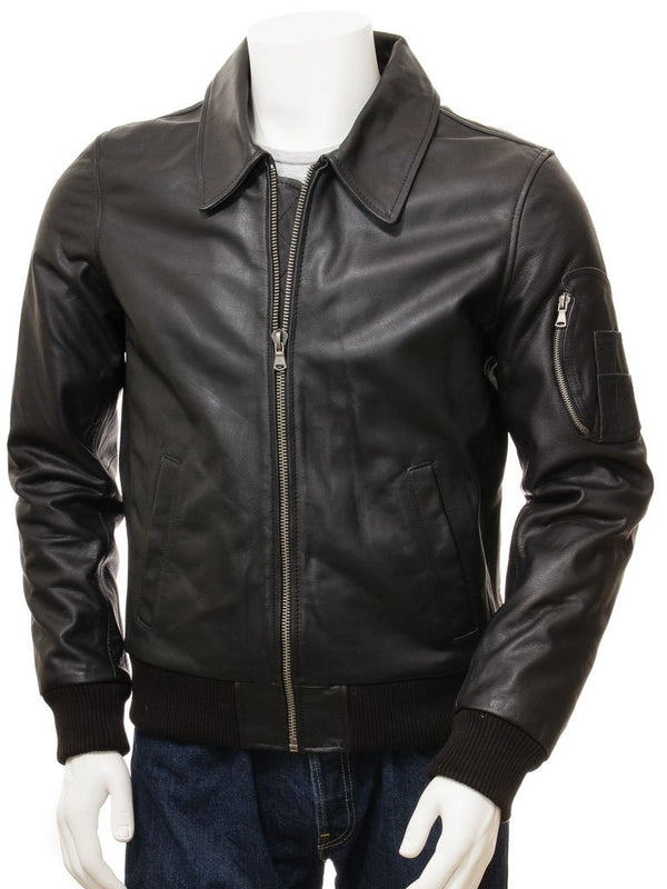 Men's Straight Leather Bomber Jacket