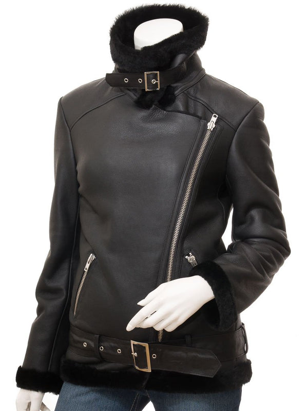Women's Black B2 Aviator Biker Leather Sheepskin Jacket