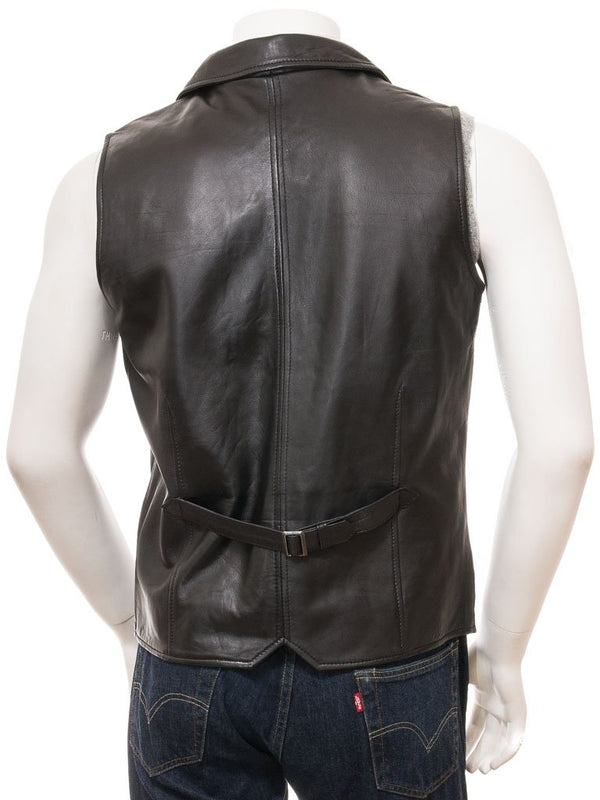 Men's Dressy Western 4 Button Leather Vest