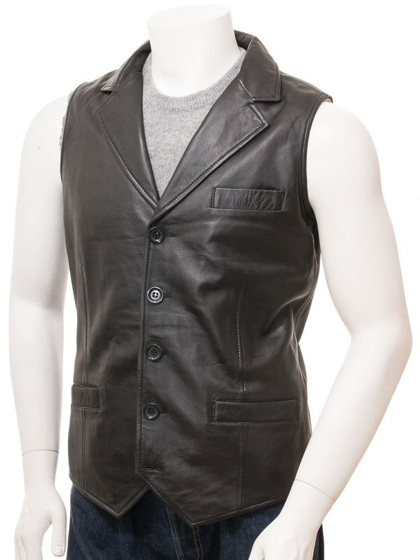 4 Button Leather Vest