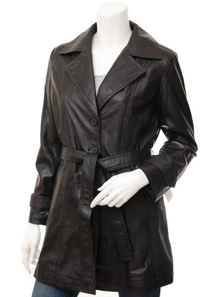 Women's Double Breasted  Leather 7/8  Belted  Button Down Coat