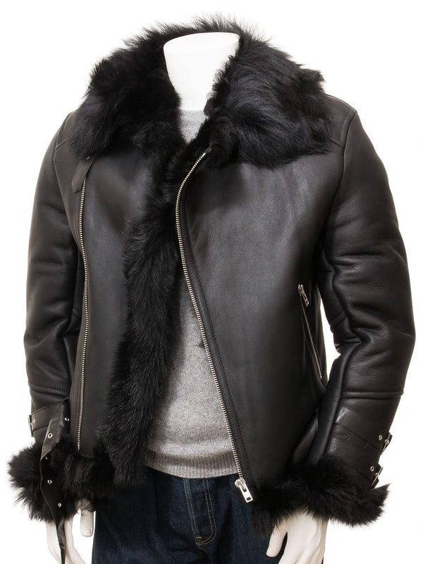 Men's Black Sheepskin Leather Biker Jacket Fur Interior