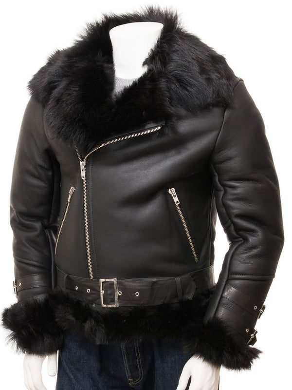 Fur Leather Biker Jacket