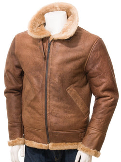 Men's Tan Sheepskin Leather Flight Jacket