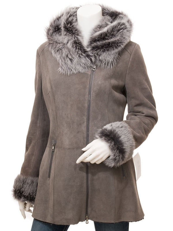 Women's Grey Sheepskin Leather 7/8 Hooded Coat