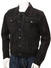 Men's Western Country Leather Shirt  Longsleeve Button Down