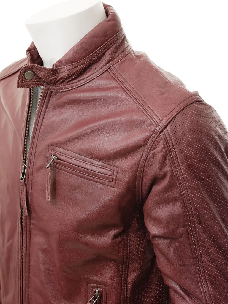 Men's Single Collar Snap Button Leather Biker Moto Racer Jacket