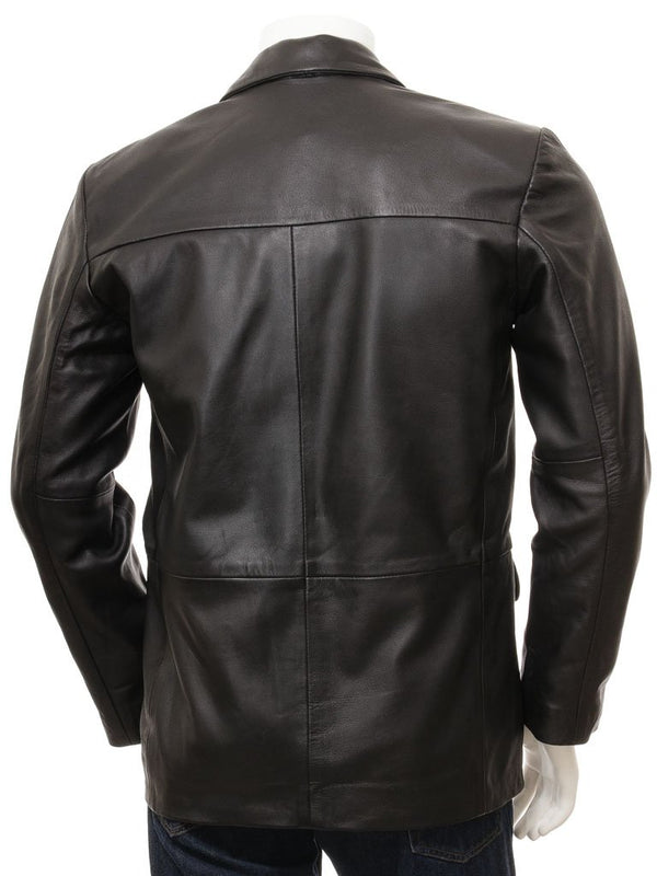 Men's 3 Button Premium Leather Blazer in Black Color