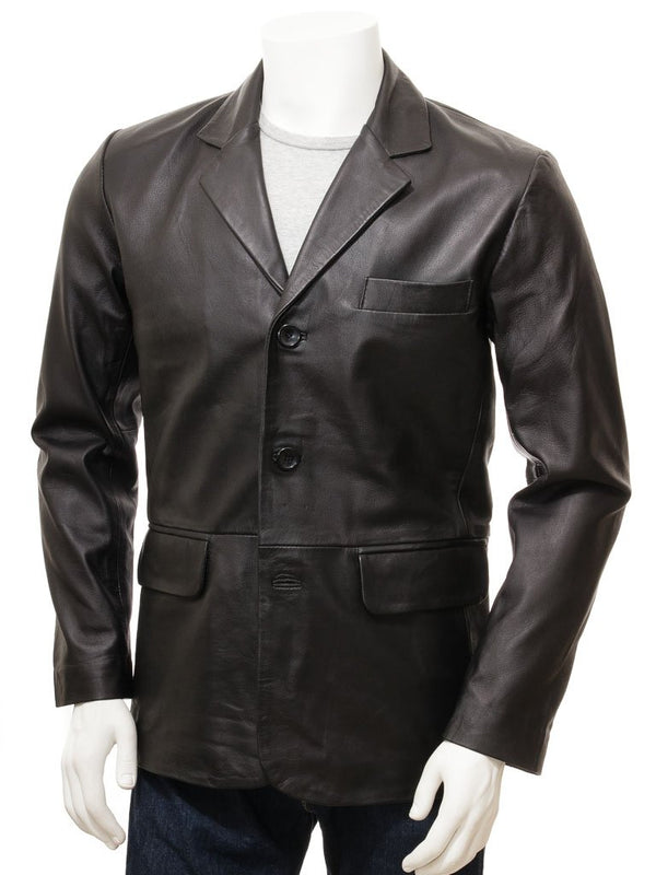 Mens 3 button leather blazer front pockets