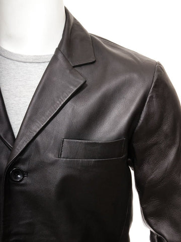 Men's Premium Leather Blazer in Black Color