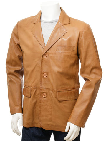 Men's 3 Button Leather Blazer in Tan Color