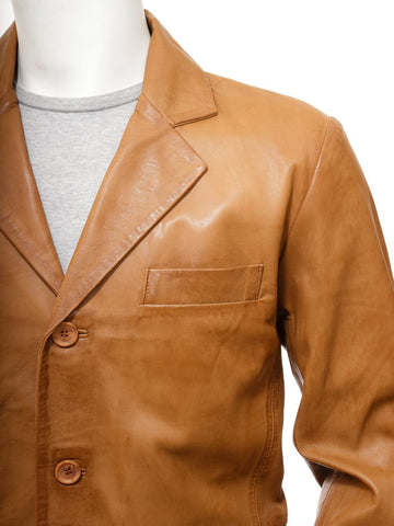 Men's 3 Button Premium Leather Blazer in Tan Color