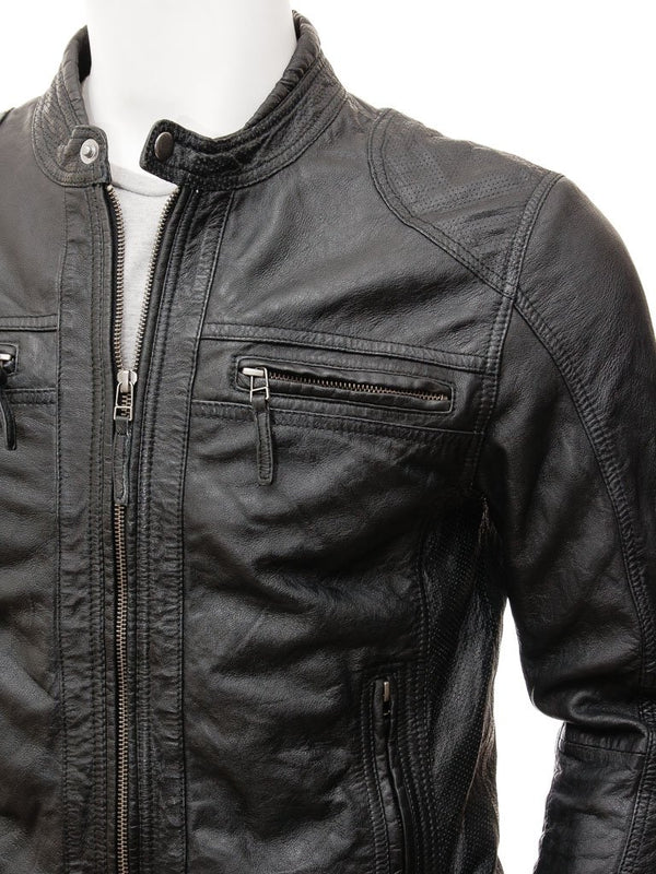 Men's Black Vintage Leather Biker Jacket