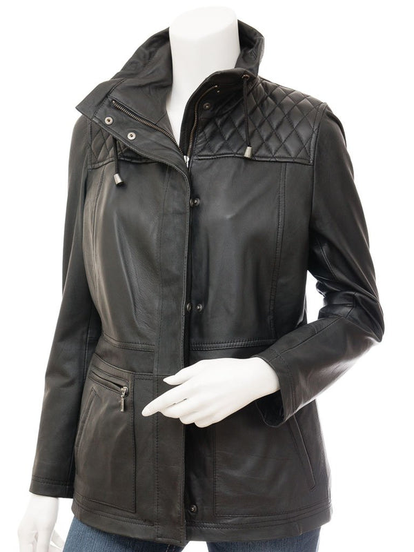Women's Quilted Black Leather  3/4 Jacket