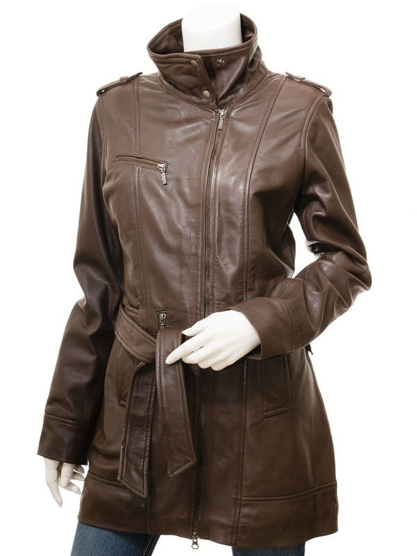 Women's Soft Brown Leather 7/8 Belted Design Coat