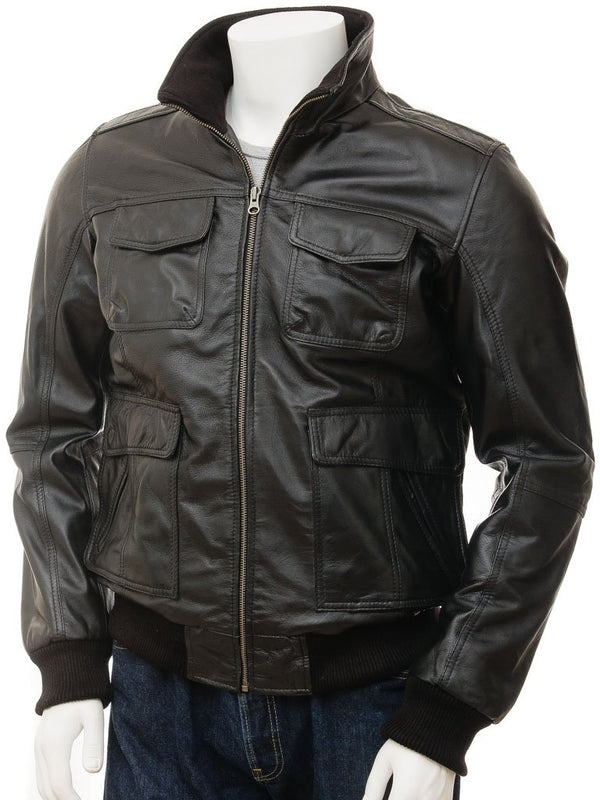 Men's A2 Leather Bomber Jacket Aviator