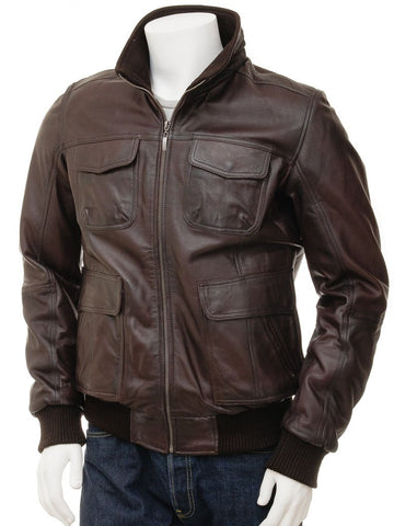 Men's A2 Leather Bomber Jacket