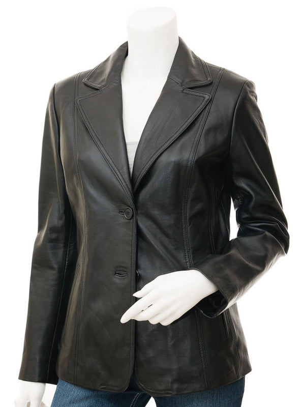 Women's 2 button Sheep Leather Blazer