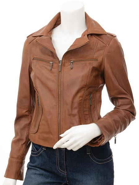 Women's Leather Tan Biker Motorcycle Jacket