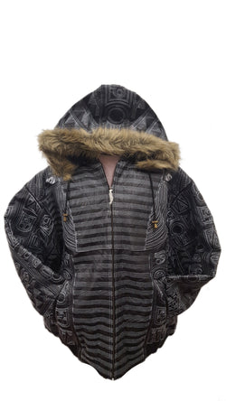 Men's King Tut Embroidery Soft Leather Classic Jacket with Fur Hood