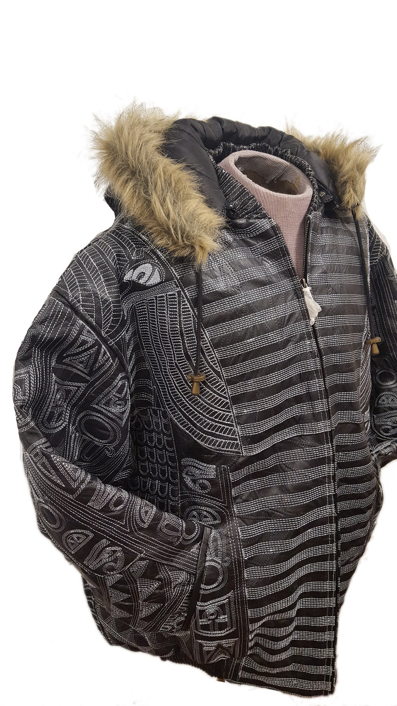 Men's King Tut Embroidery Soft Leather Classic Jacket with Fur Hood (BIG AND TALL SIZES)