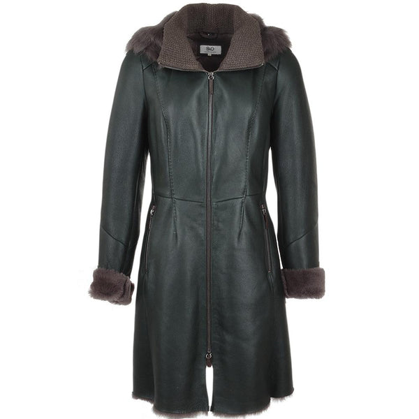 Women's 3/4 Fur Hooded Sheepskin Leather Coat