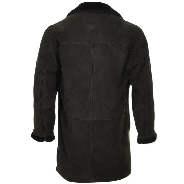 Men's Black Sheepskin Leather Suede Fur Lined 3 Button Car Coat