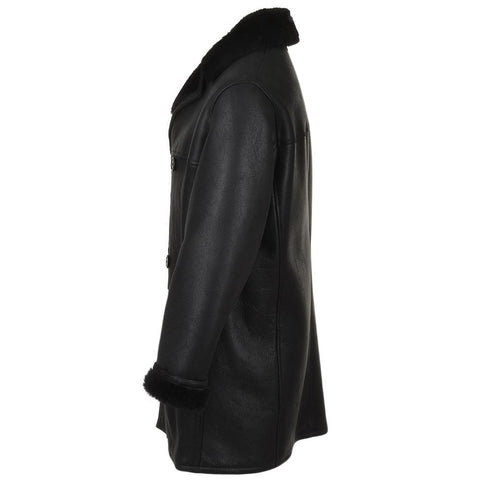 Men's Black Double Breasted Sheepskin Leather Fur Lined Coat