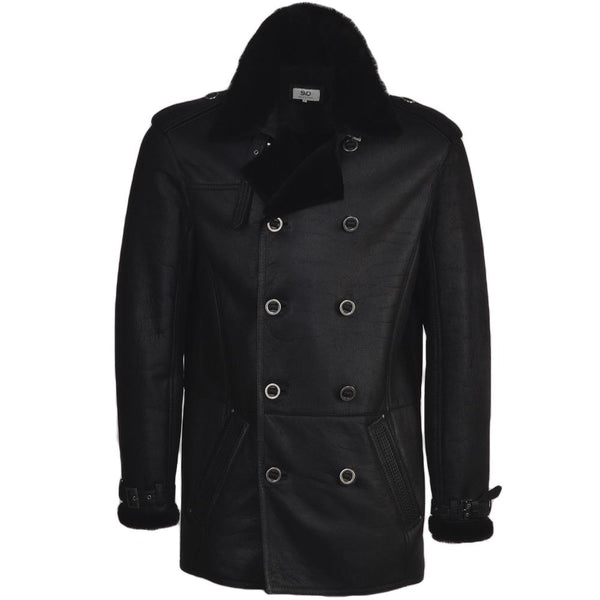Men's Black Sheepskin Leather Military Double Breasted Coat