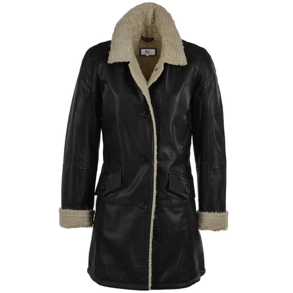 Women's Black 3 Button 3/4 Length Fur Trim Leather Coat