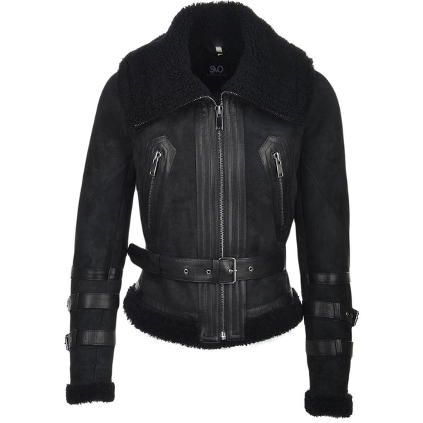 Women's Suede Leather Aviator Flying Bomber Jacket
