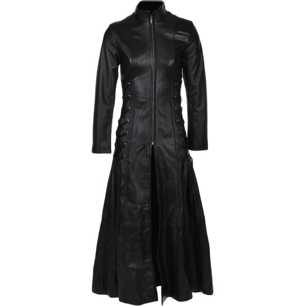 Women's Black Full Length Gothic Leather Long Trench Coat
