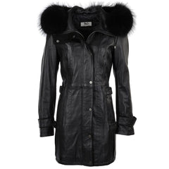 Women's Leather Parka Fur Hooded Jacket