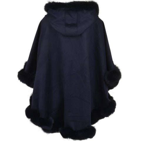 Women's Suede Leather Fur Trim Poncho Shawl Cape Hooded
