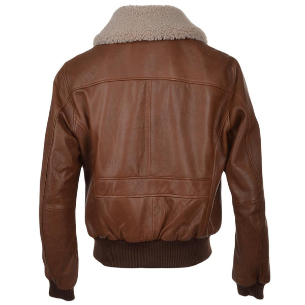 Men's Cowhide Leather Aviator Fur Collar Bomber Flight Jacket