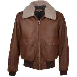 Cowhide Aviator Leather Fur Collar Bomber Flight jacket