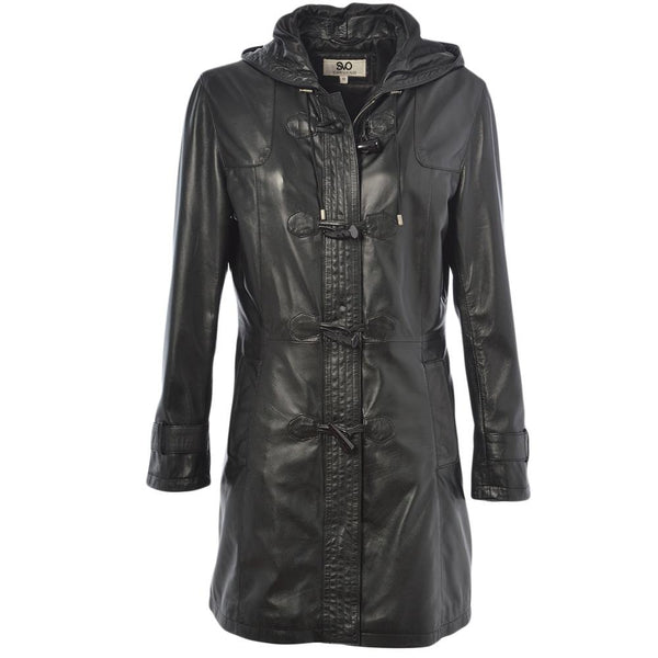 Women's Leather Duffle Hooded 7/8 Coat
