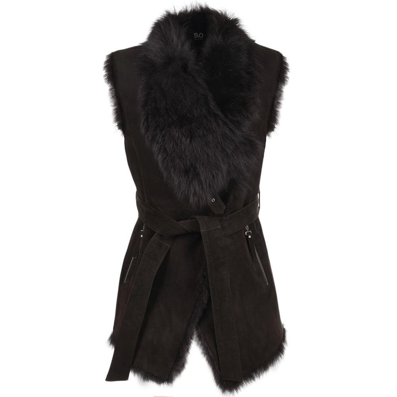 Women's Suede Leather Fur Trim Belted Vest
