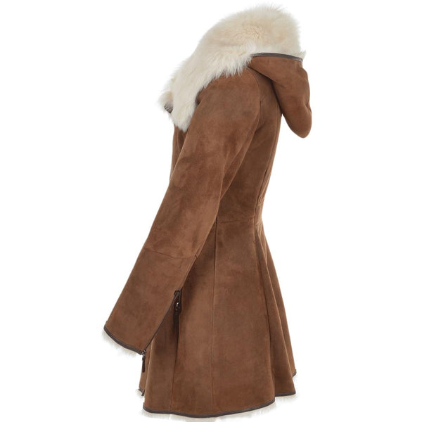 Women's Suede Tan Leather Fur Collar Long Coat