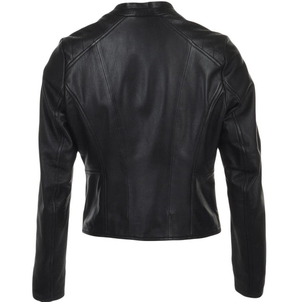 Women's Leather Biker Simple Moto Jacket