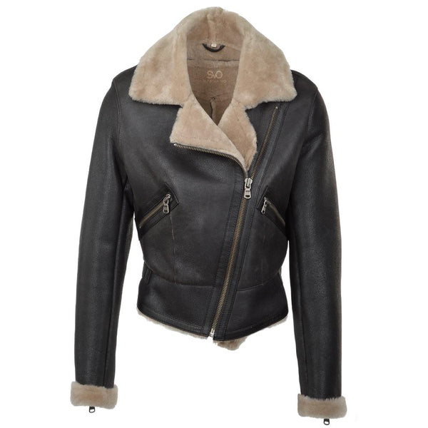 Women's Black Sheepskin Leather Fur Moto Biker Jacket
