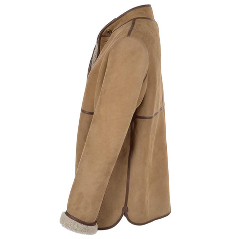 Women's Suede Leather 3 Button Car Coat Fur Lined