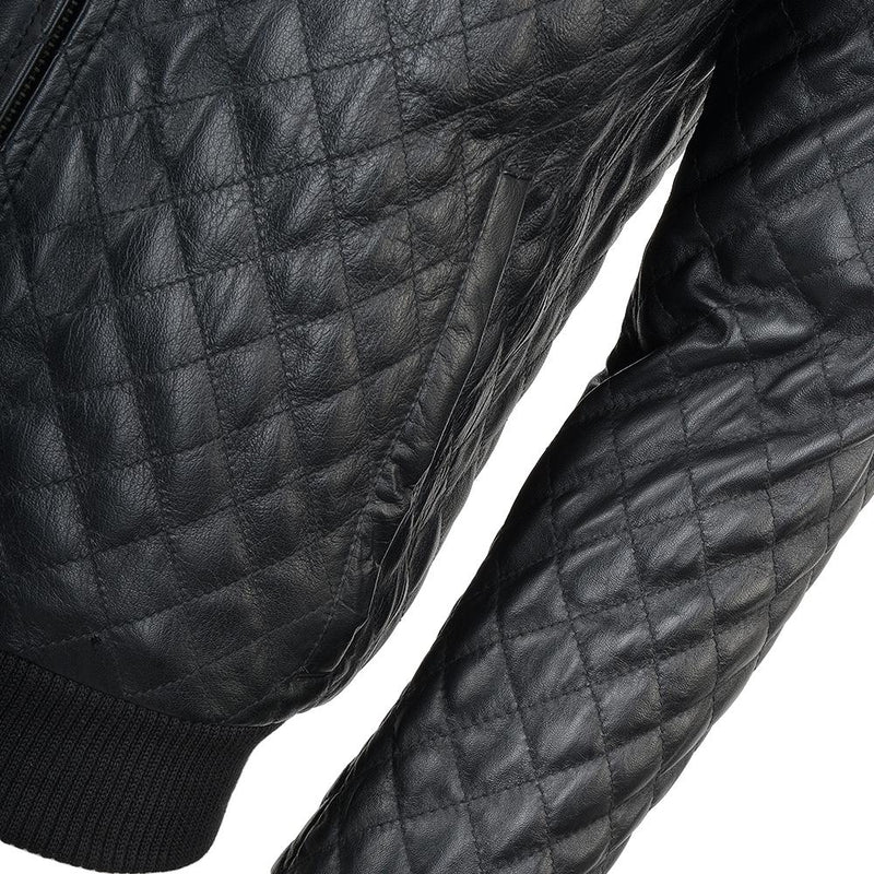 Men's Quilted Lambskin Leather Baseball Bomber Jacket