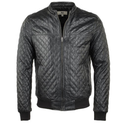 Quilted Lambskin Leather Baseball Bomber Jacket
