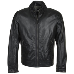 Snap button leather collar biker jacket