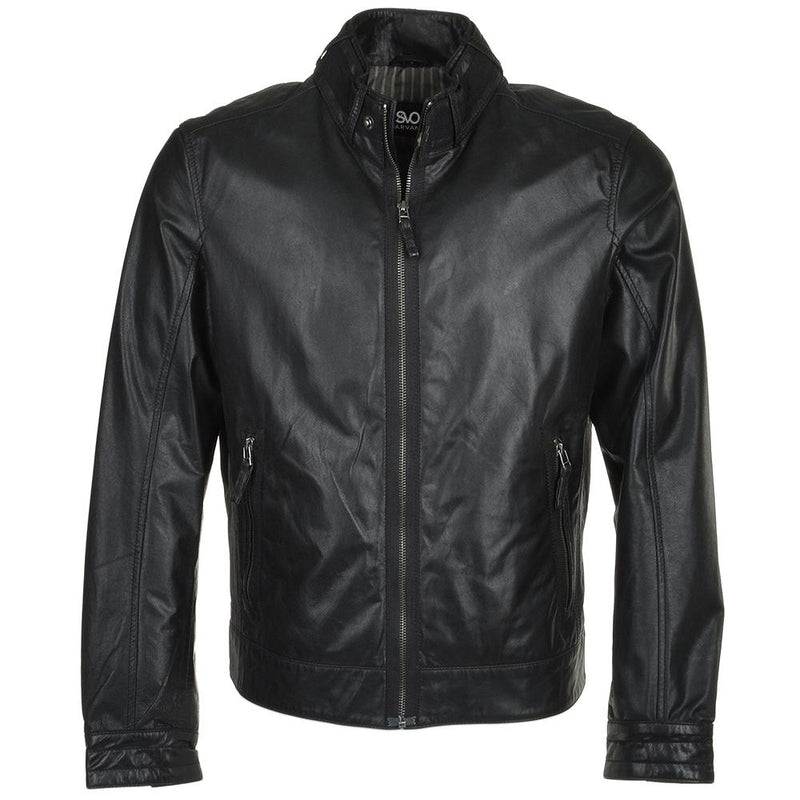 Men's Single Collar Snap Button Leather Biker Jacket